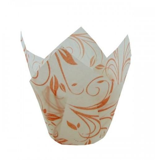 Forma Tulipa Branco com Laranja C/25Un - Ecopack