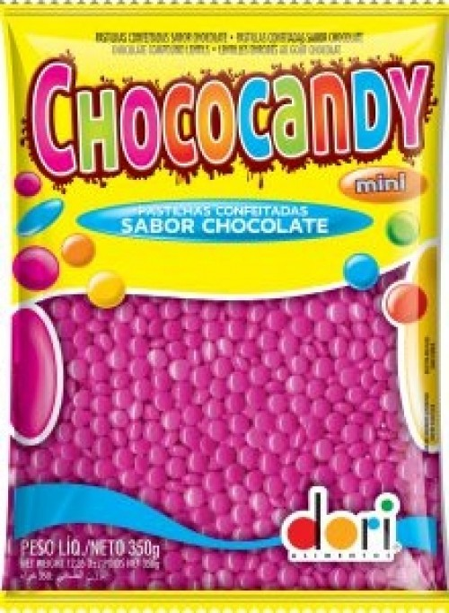 Chococandy Pastilhas Confeitadas Rosa Sabor Chocolate 350g - Dori