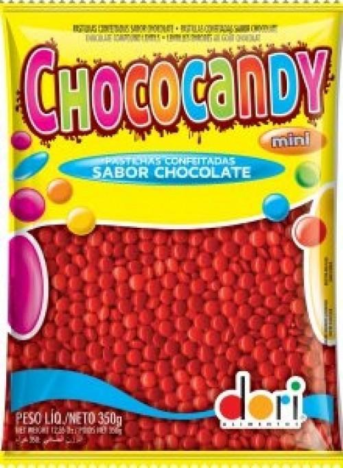 Chococandy Pastilhas Confeitadas Sabor Vermelha Chocolate 350g - Dori