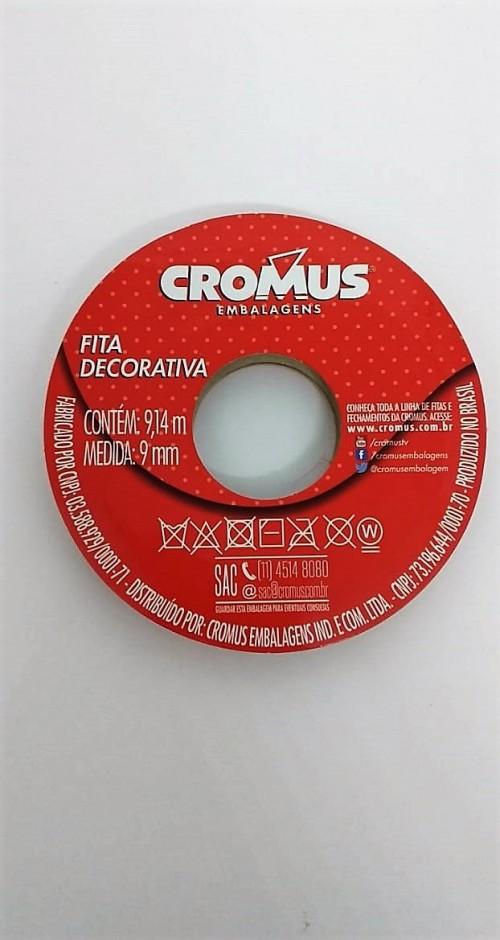Fita de Cetim Decorada com Carinho Vermelha 9mm x 9,14m - Cromus