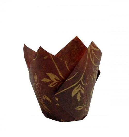 Forma Tulipa Marrom com Dourado C/25Un - Ecopack