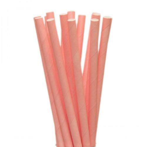 Canudo de Papel Biodegradável  Rosa Claro  20Cm C/25Un - Confeitudo