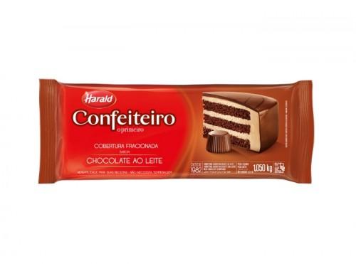Barra Cobertura Fracionada Confeiteiro Sabor Artificial Chocolate ao Leite 1,050kg - Harald