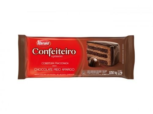 Barra Cobertura Fracionada Confeiteiro Sabor Artificial Chocolate Meio Amargo 1,050kg - Harald