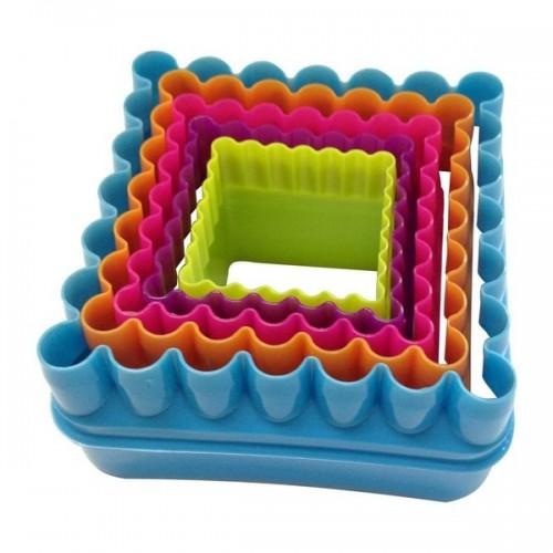 Jogo Cortador Plástico Quadrado c/ 5 Peças - Confeitudo