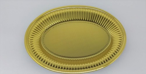 Prato Oval Matallizado Dourado 30 x 22 Cm - Neoform