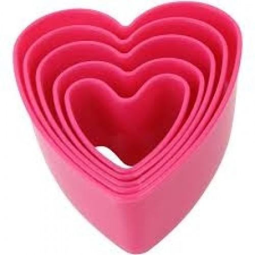 Jogo Cortador Plástico Coração 5 Peças - Confeitudo