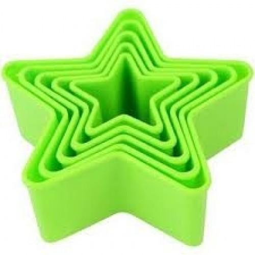 Jogo de Cortadores Plástico Estrela c/ 5 Peças - Confeitudo