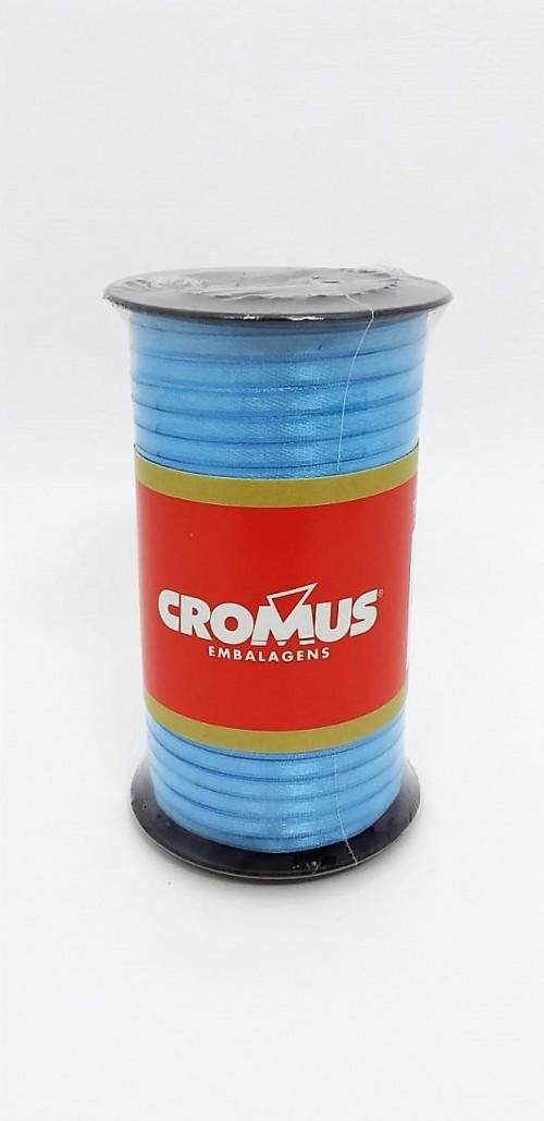 Fita de Cetim Nº0 Azul Caribe 3,5cm x 100m - Cromus