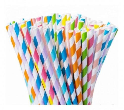 Canudo de Papel Biodegradável  Colorido 19,7Cm C/25Un - Bompack